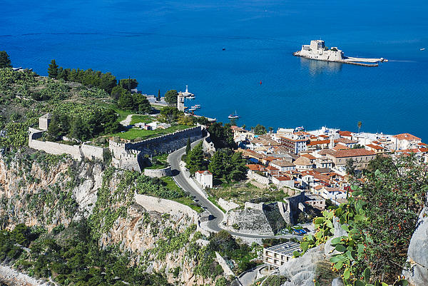 Old Town Nafplio And Ruins Print by David Waldo