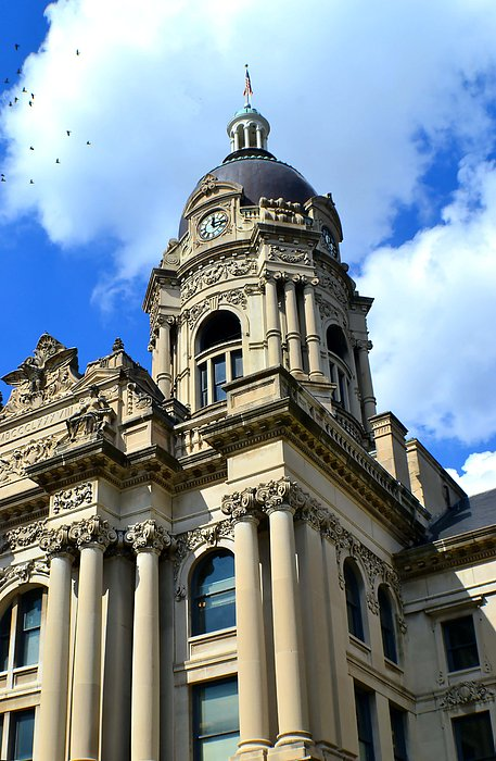 Old Vanderburgh County Courthouse Print by Deena Stoddard