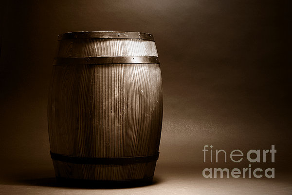 Old Whisky Barrel Print by Olivier Le Queinec