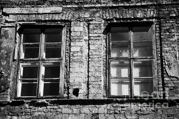 Old Wooden Double Layer Glazing In Old Red Brick Building With Plaster Facade Removed For Renovation Kazimierz Krakow Print by Joe Fox