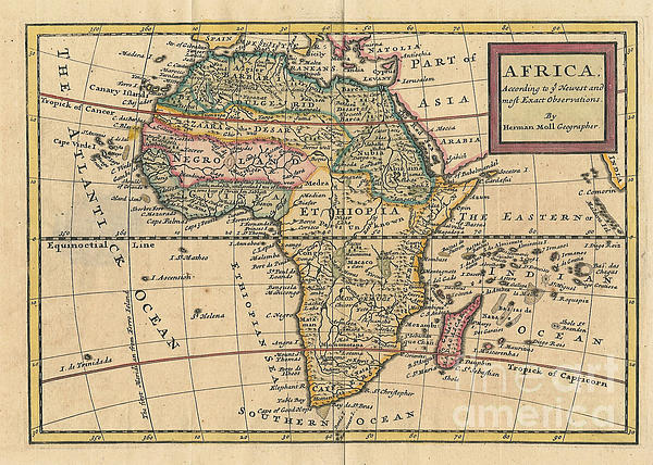 Old World Map Of Africa Print by Inspired Nature Photography By Shelley Myke