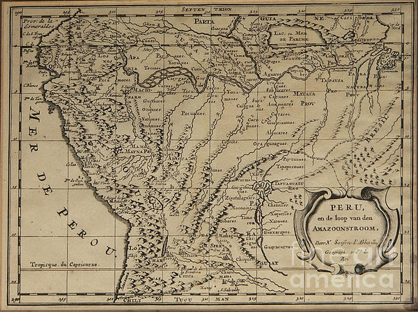Old World Map Of Peru Print by Inspired Nature Photography By Shelley Myke