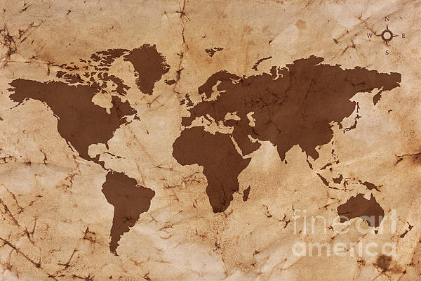 Old World Map On Creased And Stained Parchment Paper Print by Richard Thomas