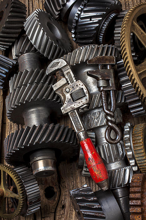Old Wrenches On Gears Print by Garry Gay