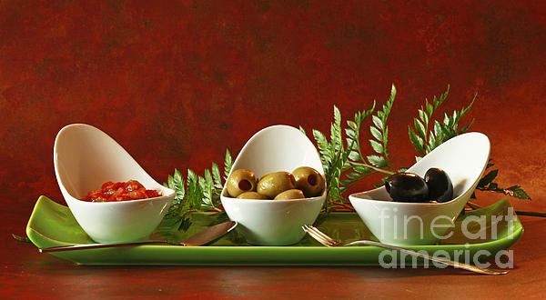 Olives And Salsa Delight Print by Inspired Nature Photography By Shelley Myke