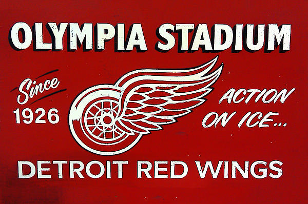 Olympia Stadium - Detroit Red Wings Sign Print by Bill Cannon