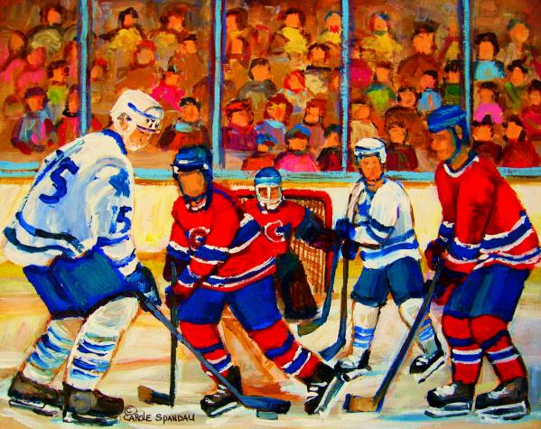 Olympic  Hockey Hopefuls  Painting By Montreal Hockey Artist Carole Spandau Print by Carole Spandau