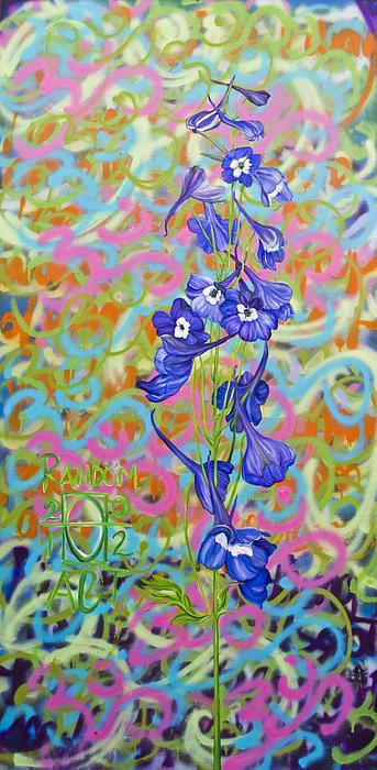 Om Dalphinium Print by Random Act aka Andrea LaHue