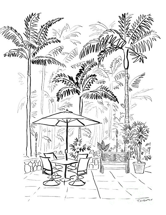 On The Lanai Ink Only Print by Diane Thornton