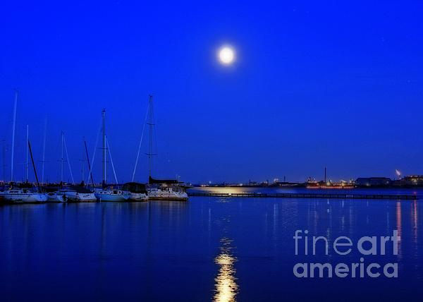 Inspired Nature Photography By Shelley Myke - Once in a Blue Moon Twilight at the Marina