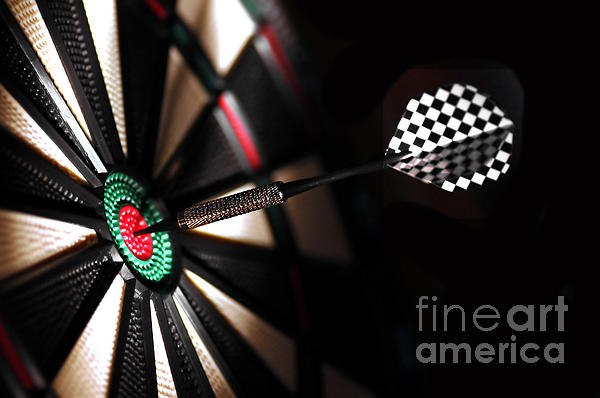 One Arrow In The Centre Of A Dart Board Print by Michal Bednarek