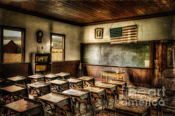 One Room School Print by Lois Bryan