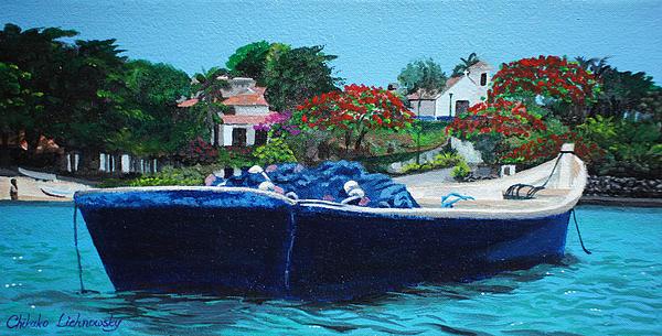 One Senery Of Praia Dos Ossos Print by Chikako Hashimoto Lichnowsky