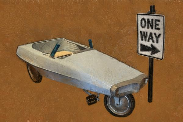 One Way Pedal Car Print by Michelle Calkins
