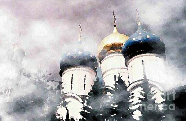 Onion Domes In The Mist Print by Sarah Loft
