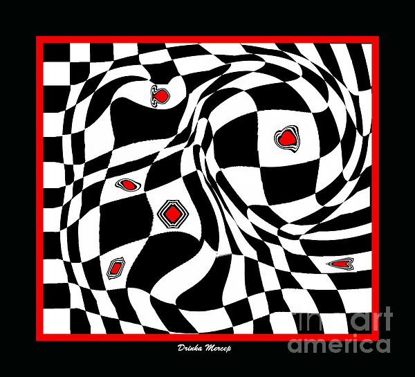 Drinka Mercep - Op Art Geometric Black White Red Abstract Print No.70.