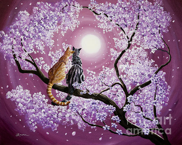 Orange And Gray Tabby Cats In Cherry Blossoms Print by Laura Iverson