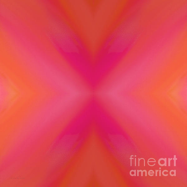 Orange And Raspberry Sorbet Abstract 6 Print by Andee Design