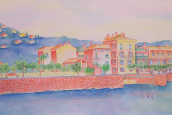 Orange Fisherman's Island Print by Rhonda Leonard