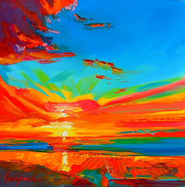 Orange Sunset Landscape Print by Patricia Awapara