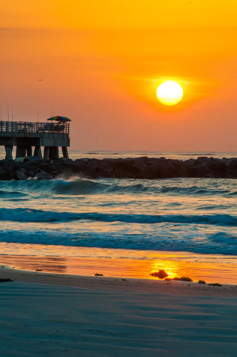Orange Sunshine At Jetty Park Print by Cliff C Morris Jr