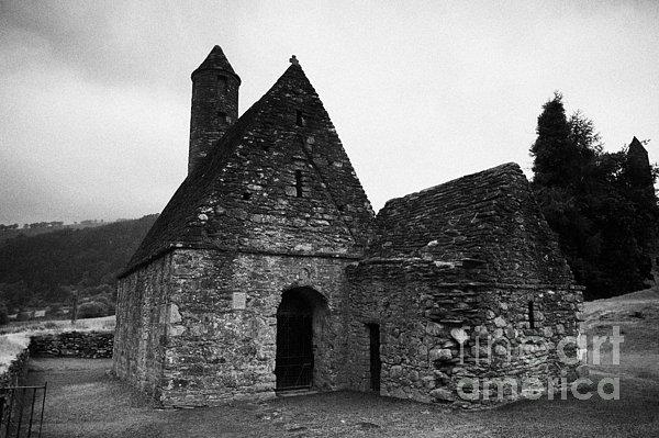 Oratory Known As St Kevins Kitchen Glendalough Monastery County Wicklow Republic Of Ireland Print by Joe Fox