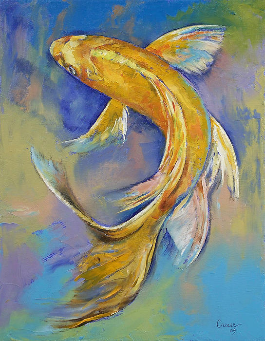 Orenji butterfly koi by michael creese for Koi prints canvas