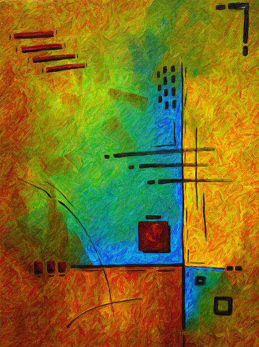 Original Abstract Painting Digital Conversion For Textured Effect Resonating IIi By Madart Print by Megan Duncanson