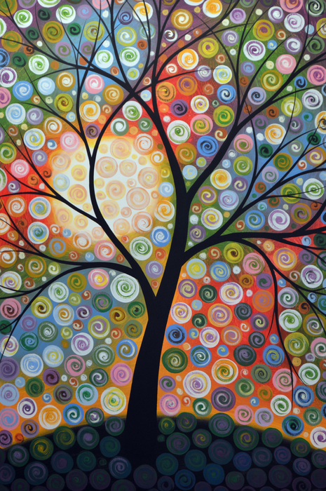 Original Abstract Tree Landscape Art Painting ... Waiting For The Moon Print by Amy Giacomelli