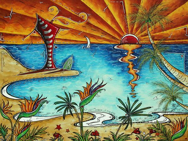 Original Coastal Surfing Whimsical Fun Painting Tropical Serenity By Madart Print by Megan Duncanson