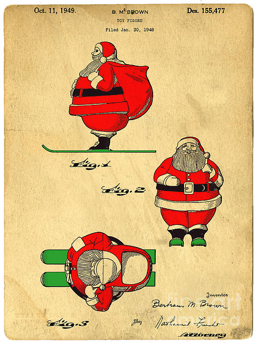 Original Patent For Santa On Skis Figure Print by Edward Fielding