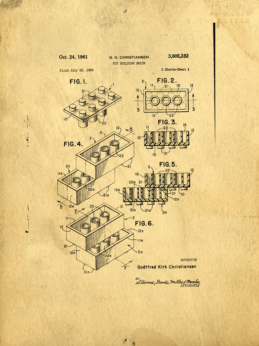 Original Us Patent For Lego Print by Edward Fielding