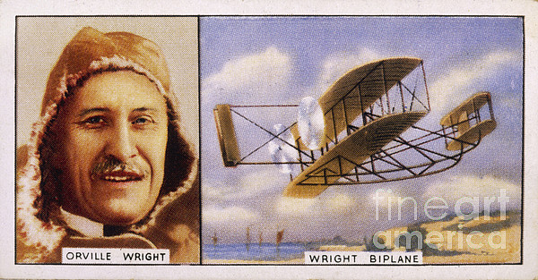 Orville Wright And Biplane Print by Mary Evans Picture Library