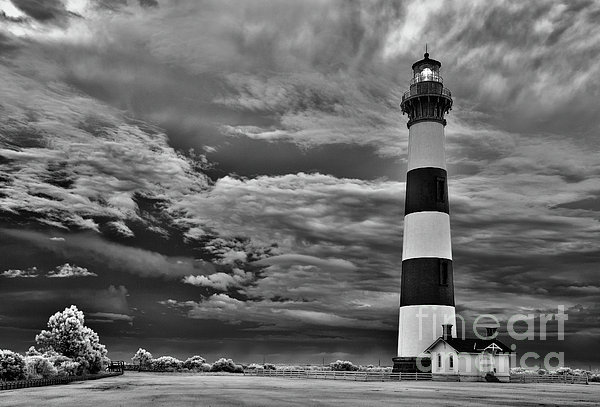 outer Banks - Stormy Day at Bodie Lighthouse BW Print by Dan Carmichael