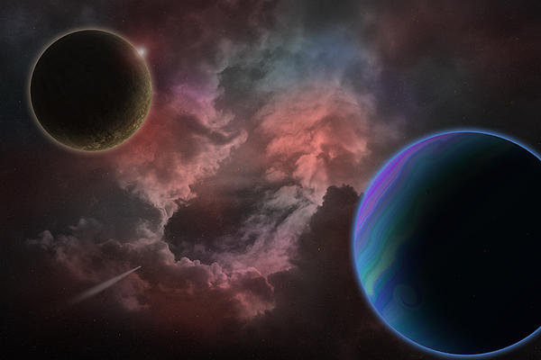 Outer Space Mystery Digital Painting Print by Georgeta Blanaru