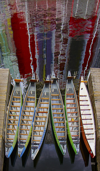 Outrigger Canoe Boats And Water Reflection Print by Ben and Raisa Gertsberg