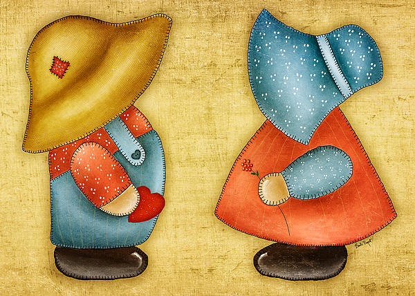 Overall Sam And Sunbonnet Sue Print by Brenda Bryant