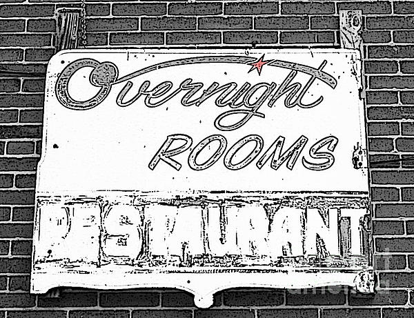 Overnight Rooms Sign Print by Nina Silver