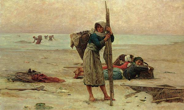 Oyster Catching Print by Pierre Celestin Billet