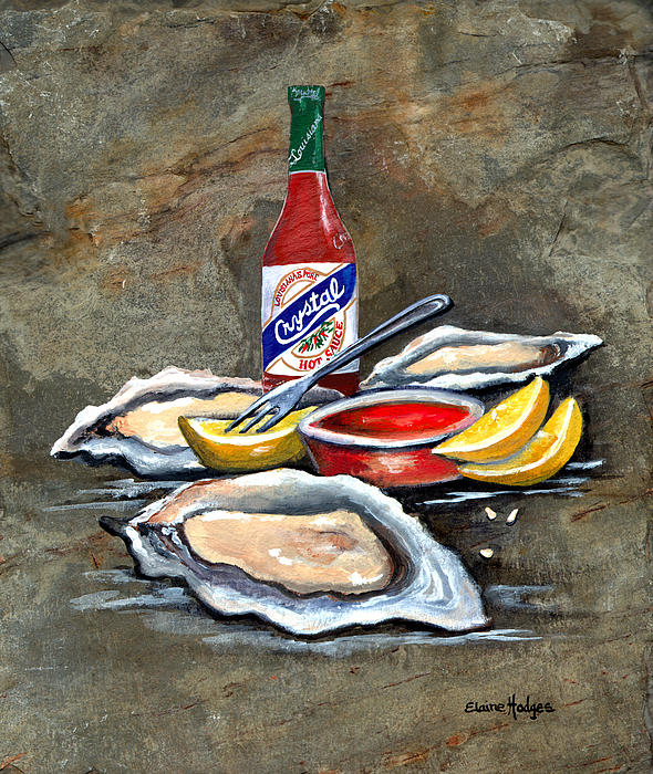 Oysters On The Half Shell Print by Elaine Hodges
