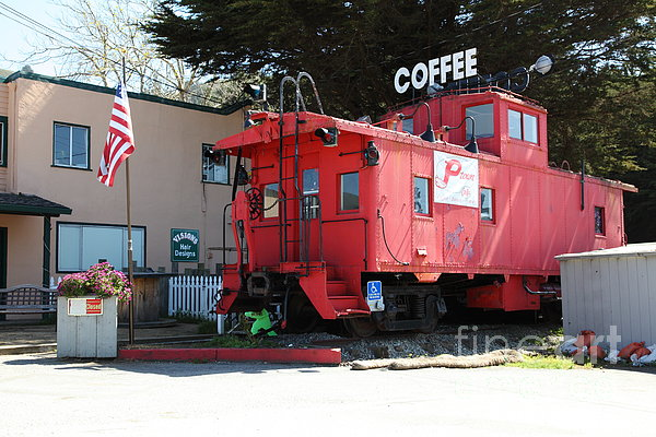 P Town Cafe Caboose Pacifica California 5d22659 Print by Wingsdomain Art and Photography