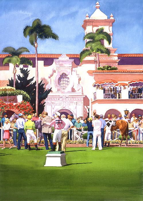 Paddock At Del Mar Print by Mary Helmreich