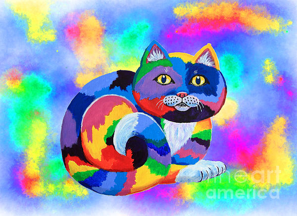 Painted Cat Print by Nick Gustafson