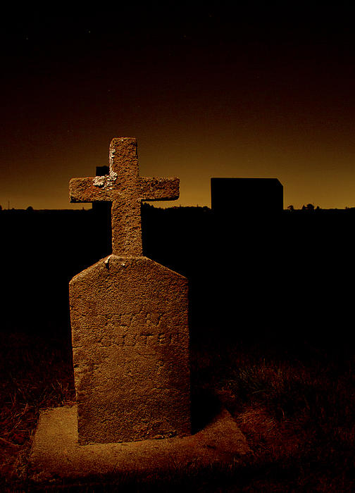 Painted Cross In Graveyard Print by Jean Noren