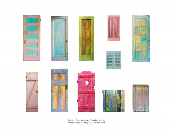 Painted Doors And Window Panes Print by Asha Carolyn Young and Daniel Furon