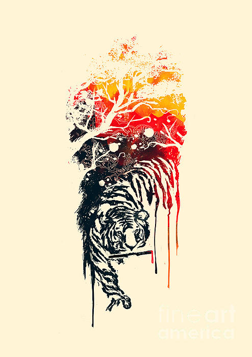 Painted Tyger Print by Budi Kwan