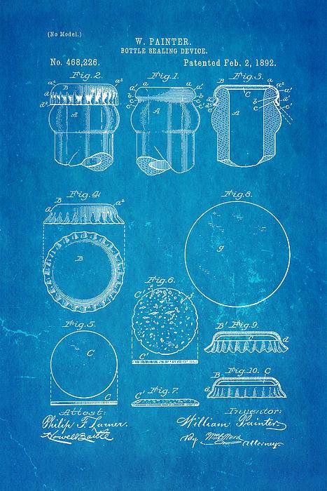 Painter Bottle Cap Patent Art 1892 Blueprint Print by Ian Monk