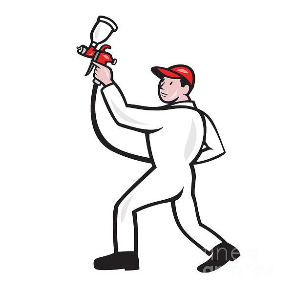 Painter Spray Paint Gun Side Cartoon Print by Aloysius Patrimonio