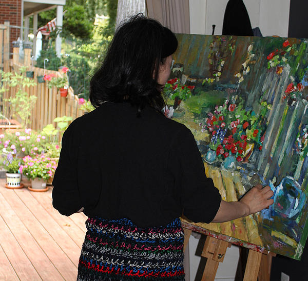 Painting My Backyard 2 Print by Becky Kim