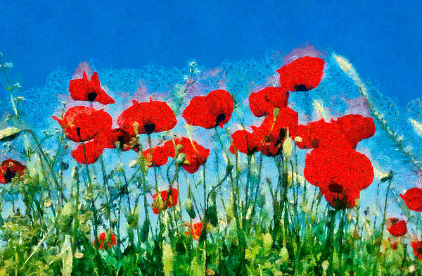 Painting Of Poppy Flowers Print by George AtsametakisPoppy Flowers Painting
